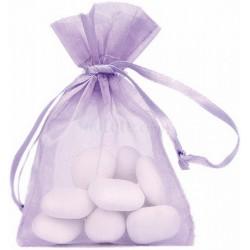 SACHET contenant dragée 6 sacs ORGANDI parme