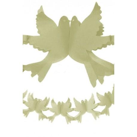 GUIRLANDE PAPIER FORME COLOMBES  - 2.2 METRES ivoire