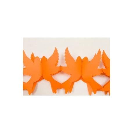 GUIRLANDE PAPIER FORME COLOMBES  - 2.2 METRES orange