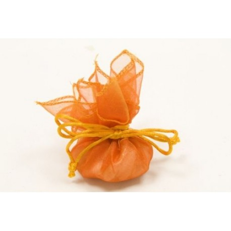 6 SACHET RONDS ORGANZA AUTO orange