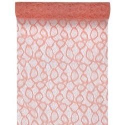 CHEMIN TABLE DENTELLE corail mat